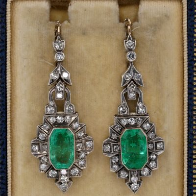 Magnificent 7.20 Ct Colombian Emerald 2.60 Ct Diamond Rare Drop Earrings