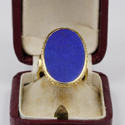 Georgian Regency Period Huge Lapis Carved Gold Rare Signet Ring