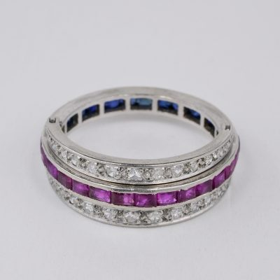 Art Deco Ruby Sapphire Diamond Platinum Night and Day Flip ring
