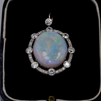 Edwardian 12.40 Ct Natural Australian Opal 2.38 Ct Diamond Rare Pendant