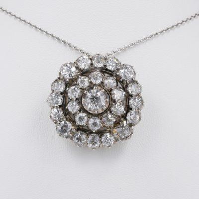 Magnificent Victorian 9.25 Ct Diamond Rare Brooch Pendant 1860 ca