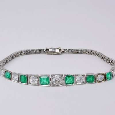 Art Deco 2.10 Ct Colombian Emerald 1.65 Ct Diamond Rare Platinum Bracelet