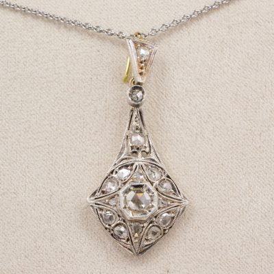 Delightful Edwardian .95 Ct Rose Cut Diamond Diamond Pendant