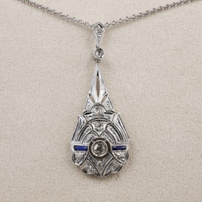 Charming Art Deco Diamond Sapphire Pendant Plus Chain