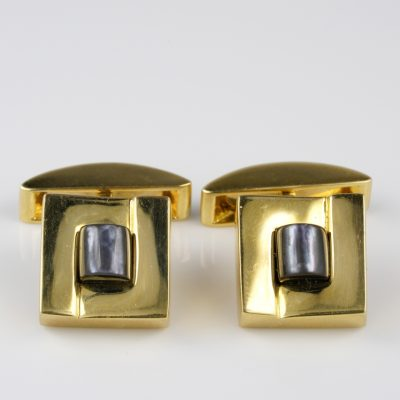 Vintage 18 KT Solid Gold  Carved MOP Gent Cuff Links