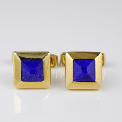 Stylish Retro Carved Lapis Gent Cuff Links 16.8 Gr. Massive 18KT Gold