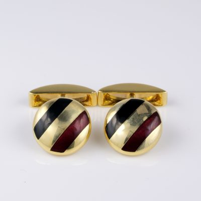Estate Stylish Enamelled Massive Solid 18 Kt gold Gent Cuff Links
