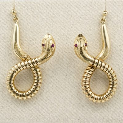 Victorian 15 Ct Solid Gold Rare Coiled Snake Large Sized Earrings