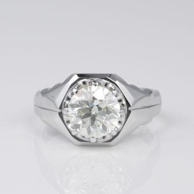 3.10 Ct Old Brilliant cut Diamond Solitaire Unisex Rare Ring 1950 ca