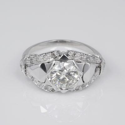 Spectacular Art Deco 1.30 Ct Plus Diamond Engagement ring