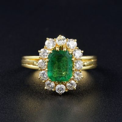 Appealing Vintage 1.30 Ct Emerald 1.10 Ct Diamond Ring