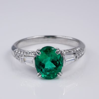 Exceptional 2.58 Ct Colombian Emerald Diamond Platinum Engagement Ring GIA Cert