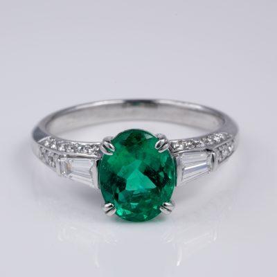 GIA Cert 2.58 Ct Colombian Emerald Diamond Platinum Engagement Ring
