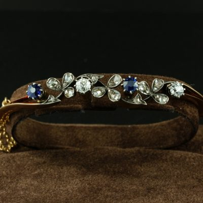 Exquisite Art Nouveau Sapphire Diamond Rare 18 KT Bangle