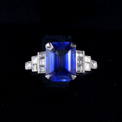 Elegant Estate 3.25 Ct Natural Sapphire .40 Ct Diamond Platinum Engagement Ring