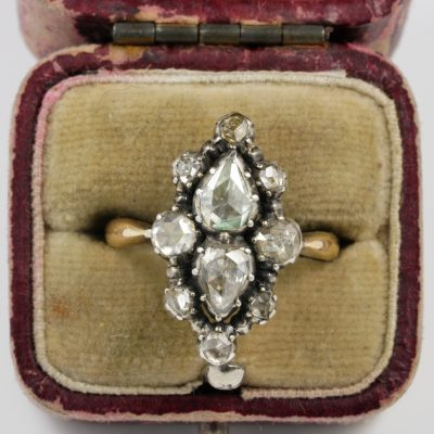 Magnificent Georgian 1.70 Ct Diamond Rare Navette Cluster Ring 1760 ca