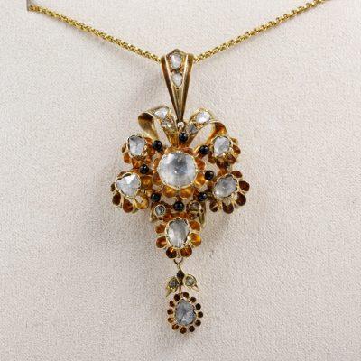 Spectacular Georgian 3.20 Ct Diamond Rare 18 KT Flower Pendant
