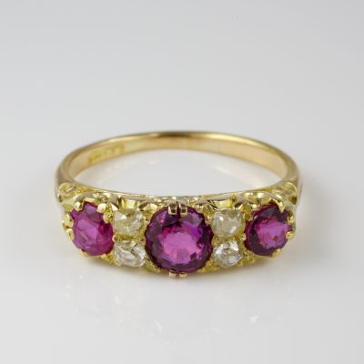 Victorian 1.55 Ct Natural Burmese Ruby .40 Ct Old Diamond Seven Stone Ring