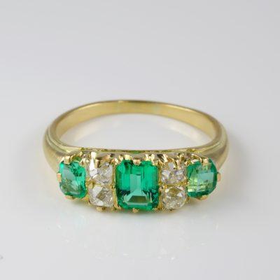 Victorian Colombian Emerald Old Mine Diamond Seven Stone ring