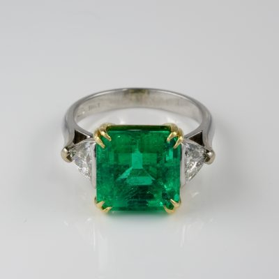 Estate Certified 6.81 Ct Colombian Emerald 1.60 Ct Diamond Trilogy ring