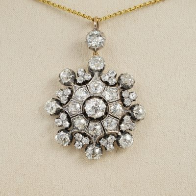Victorian Era 13.50 Ct Old Cut Diamond Rare Brooch Pendant