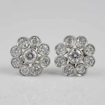 Antique Edwardian 2.0 Ct Diamond Cluster Platinum Studs