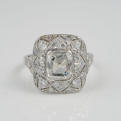 Antique Belle Epoque Rectangular Diamond Plus Engagement Platinum ring