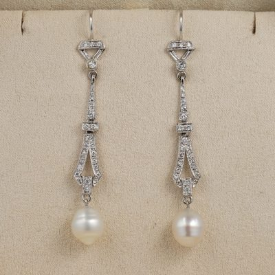 Charming Vintage .90 Ct  Diamond Baroque Salt Sea Cultured Pearl Drop earrings