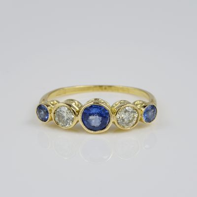 Charming Edwardian Natural Sapphire Diamond Five Stone Ring