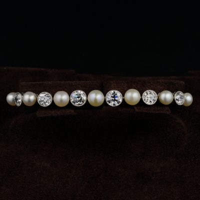 Extremely Fine Edwardian Natural Pearl Diamond Platinum Riviere bracelet