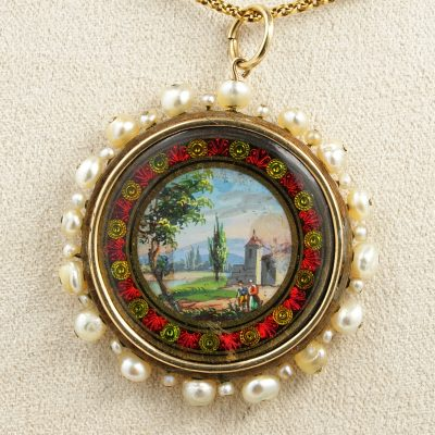 Georgian Rare Natural Pearl Painted Miniature Enamel Pendant 18 KT