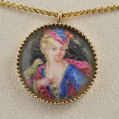 Rare Early Georgian Vellum Miniature with Monogram Gold Case