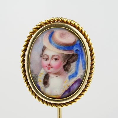 Georgian Beautiful Lady Portrait Miniature 16 Kt Rare Stick Pin