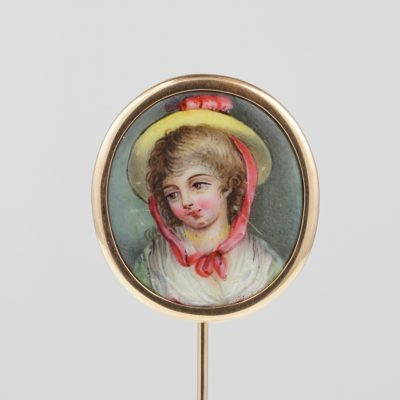 Georgian Stunning  Young Boy Enamel Miniature Large Stick Pin in Gold