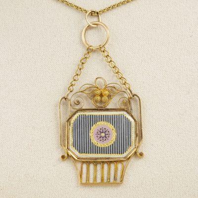 Georgian Giardinetti 20 KT Gold Enamel Rare Pendant