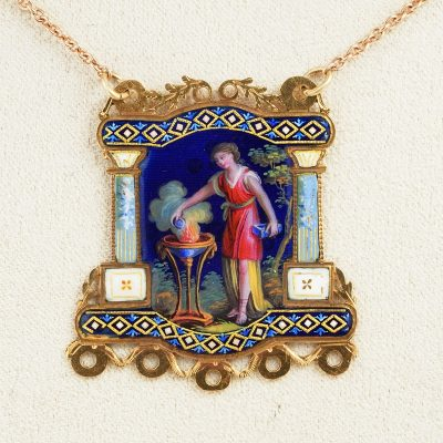 Georgian Beautiful Symbolic Enamelled Miniature Pendant Necklace
