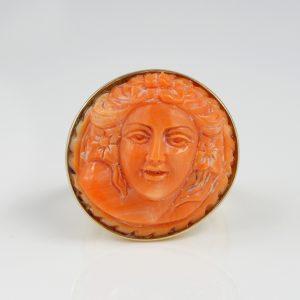 Spectacular Vintage Signed Ascione Carved Natural Coral Cameo ring 14 KT Gold
