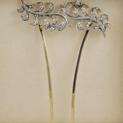 Spectacular Victorian Diamond Aigrette Hair Ornament Silver on Gold
