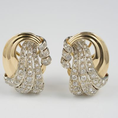 Outstanding late Deco 4.0 Ct Old Mine Diamond Large Bow Earrings