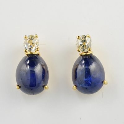 Victorian Certified 18.30 Natural Burma Sapphire 1.50 Ct Old Mine Diamond Rare Earrings