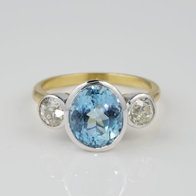 Spectacular Late Art Deco 3.0 Ct Natural Aquamarine .95 Ct Old Diamond Trilogy ring