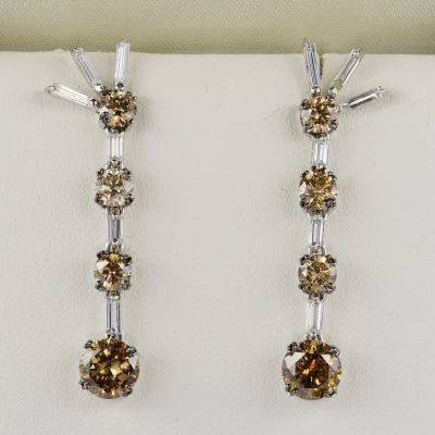 Important 5.80 Carat Fancy Orange Brown Diamond Vintage Drop Earrings