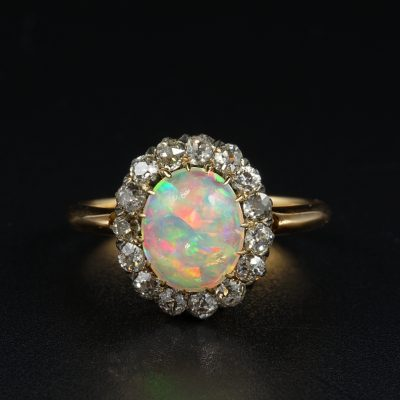 EXTRAORDINARY VICTORIAN 1.90 CT OPAL 1.20 CT DIAMOND ENGAGEMENT RING