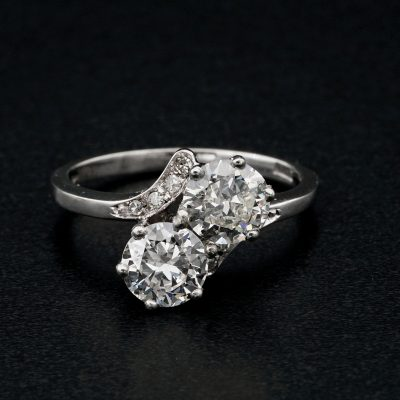 Spectacular Vintage 1.55 Ct Two Stone G VVS Diamond Engagement Twisted Ring