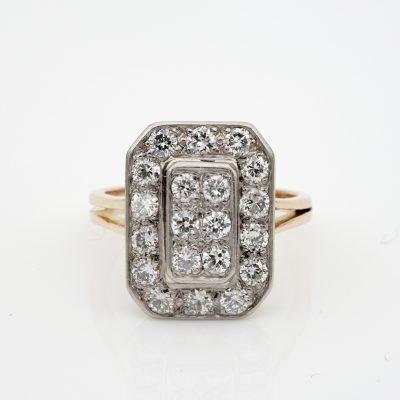 French Late Art Deco 1.20 Diamond 18 KT Platinum Geometric Ring
