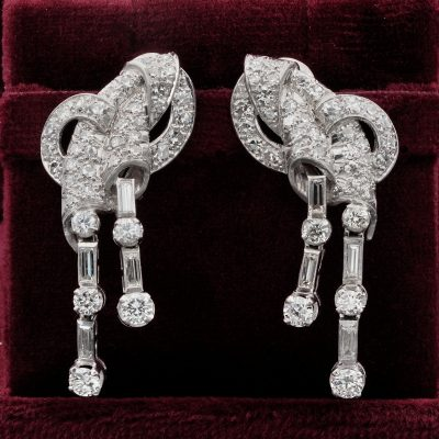 Stunning Art Deco 4.0 Ct Diamond Platinum Rare Bow Earrings