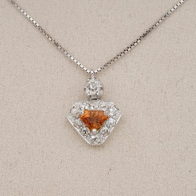 Art Deco 1.20 CT No Heat Orange Sapphire 1.20 Old Cut Diamond Shield Pendant
