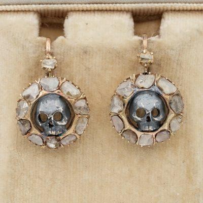 Unusual Victorian 2.30 Ct Flat cut Diamond Memento Mori Skull Earrings