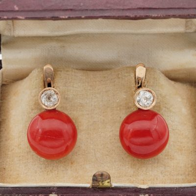 Victorian Rare 12 mm. Red Coral Buttons  .50 Ct Diamond Earrings