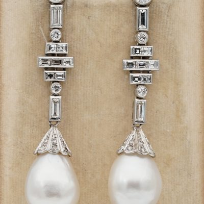 Spectacular Art Deco French Jumbo South Sea Pearl 2.50 Ct Diamond Platinum Eardrops